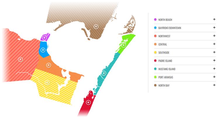 Corpus Christi Texas Visitor Interactive Map graphic
